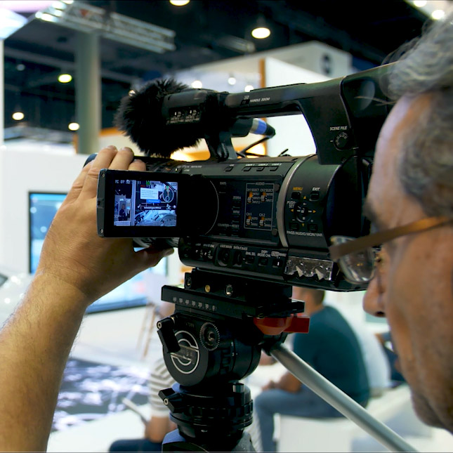 Cameraman on the exhibition grounds of Messe Frankfurt