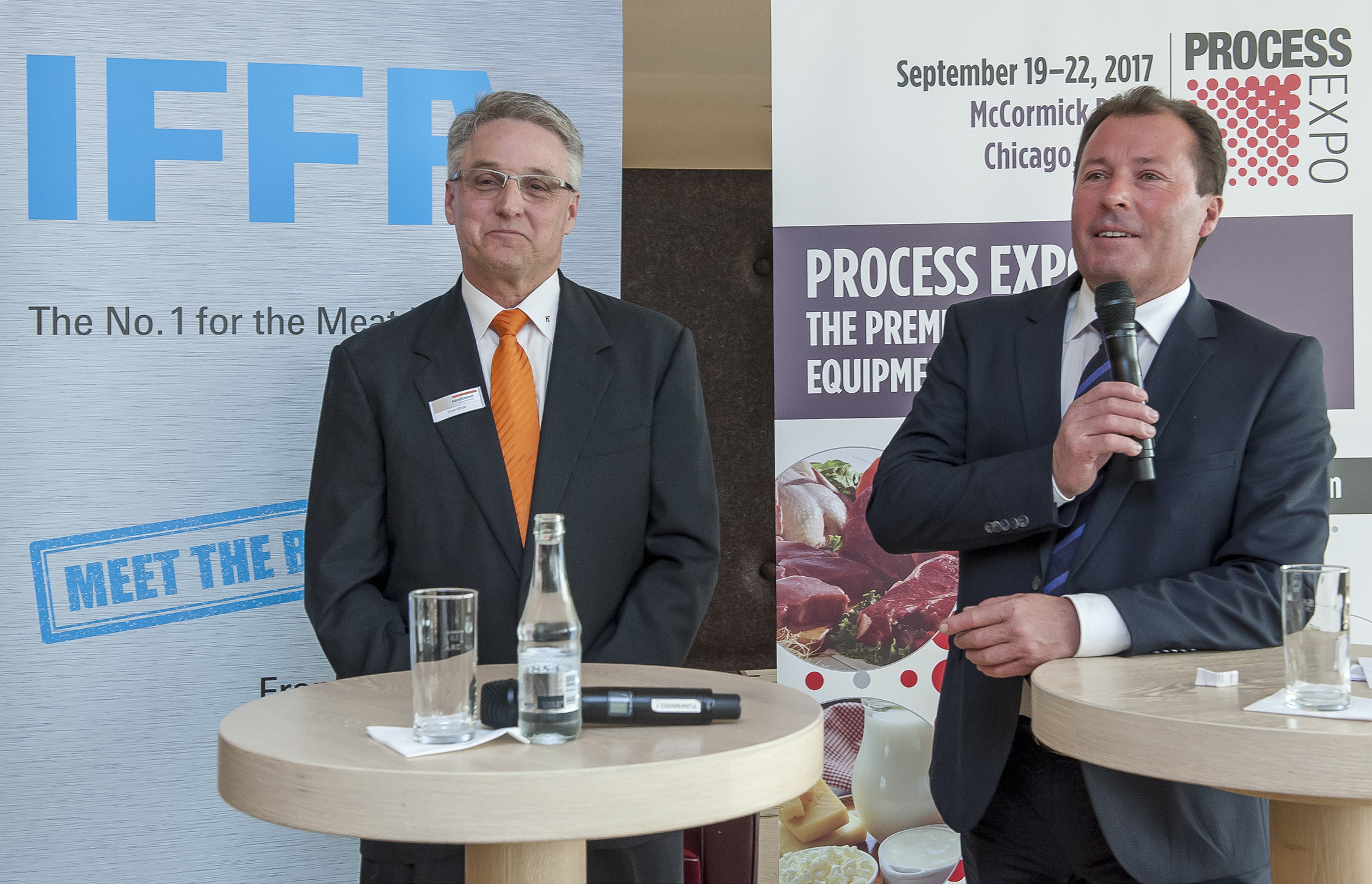 Process Expo: f.l.t.r. Tom Kittle (Chairman of FPSA and President of Handtmann Inc. and Handtmann Canada Limited), Wolfgang Marzin (President and Chief Executive Officer (CEO) of Messe Frankfurt GmbH)